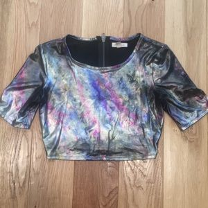 UO Holographic Space Crop Top